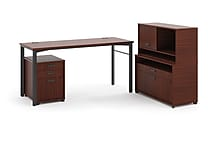 HON basyx Manage 72'(W) Melamine L-Workstation With File Center, Chestnut