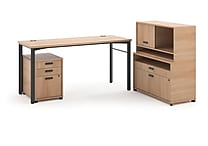 basyx by HON® Manage® L-Workstation Desk with Storage in Wheat