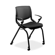 HON® Motivate Polyester Stacking Chair With Black Base, Black/Onyx