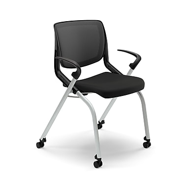 HON® Motivate Polyester Stacking Chair With Platinum Base, Black/Onyx