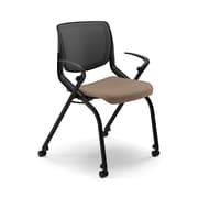 HON® Motivate Polyester Stacking Chair With Black Base, Morel/Shadow