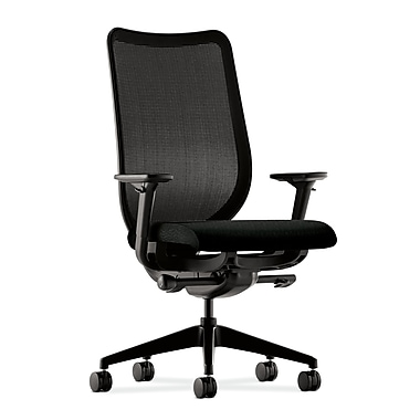 HON® Nucleus Task Chair, Black ilira®-stretch Back, Synchro-Tilt, Seat Glide, Adjustable Arms, Tectonic Black Fabric