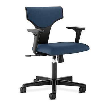 HON® basyx® VL258 Series 36 1/4in.H Fabric T-Shaped Back Task Chair With Synchro Tilt, Navy