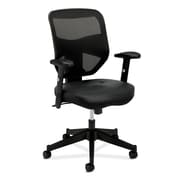 HON® basyx Mesh High Back Leather Work Chair, Black
