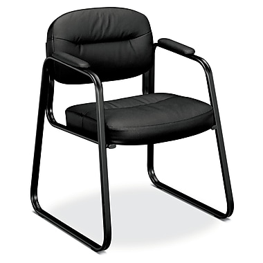 basyx by HON HVL653 Sled Base Guest Chair, Fixed Arms, Black SofThread Leather