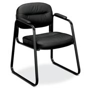 basyx by HON® VL653 Sled Base Guest Chair, Black SofThread™ Leather