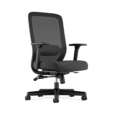 basyx by HON HVL721 Mesh Task Chair, Synchro-Tilt, Lumbar, Seat Glide, 2-Way Arms, Black Fabric