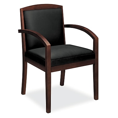 basyx by HON HVL853 Guest Chair, Wood Frame, Mahogany Finish, Black SofThread Leather