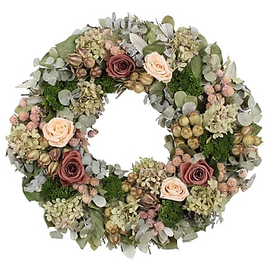 The Christmas Tree Company Coral Rose Variation Dried Floral Wreath 18