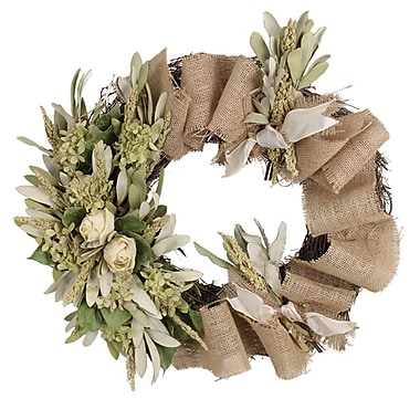 The Christmas Tree Company Roses and Burlap Dried Floral Wreath 18