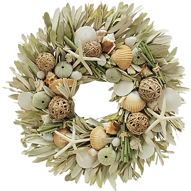 The Christmas Tree Company Beach Cabana Seashell and Dried Floral Wreath 22