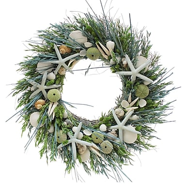 The Christmas Tree Company Ocean Tide Seashell and Dried Floral Wreath 22