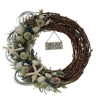 The Christmas Tree Company Crystal Tides Variation Seashell and Dried Floral Wreath 22