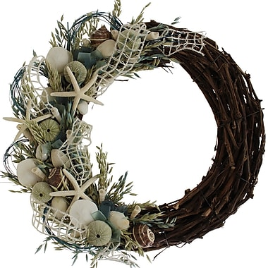 The Christmas Tree Company Crystal Tides Seashell and Dried Floral Wreath 22