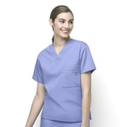 WonderWink® The Alpha Unisex Fit V-Neck Scrub Top With 3 Pockets, Ceil Blue, 2X