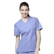 WonderWink® The Bravo Lady's Fit V-Neck Scrub Top With 5 Pockets, Ceil Blue, XL