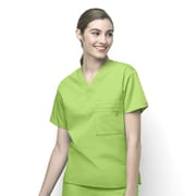 WonderWink® The Alpha Unisex Fit V-Neck Scrub Top With 3 Pockets, Green Apple, Medium