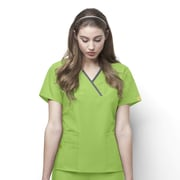 WonderWink® The Charlie Lady's Fit Y-Neck Mock Wrap Scrub Top With 5 Pockets, Green Apple, Small