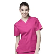WonderWink® The Bravo Lady's Fit V-Neck Scrub Top With 5 Pockets, Hot Pink, 3X