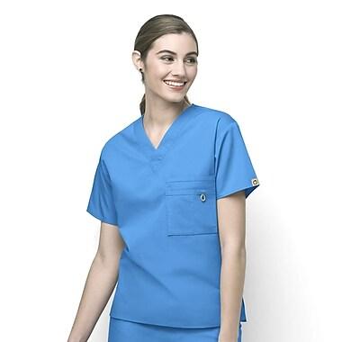 WonderWink® The Alpha Unisex Fit V-Neck Scrub Top With 3 Pockets, Malibu Blue, Medium