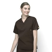 WonderWink® The Alpha Unisex Fit V-Neck Scrub Top With 3 Pockets, Chocolate, Small