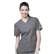 WonderWink® The Bravo Lady's Fit V-Neck Scrub Top With 5 Pockets, Pewter, XS