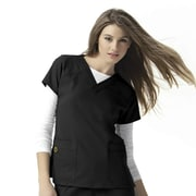 WonderWink Four-Stretch Women Small Sporty V-Neck Top, Black (6214ABLKSM)