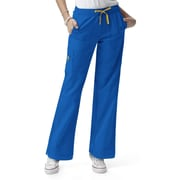 WonderWink® Four Stretch Elastic Waist Boot Cut Cargo Regular Scrub Pant, Royal, XS
