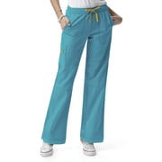 WonderWink® Four Stretch Elastic Waist Boot Cut Cargo Petite Scrub Pant, Real Teal, 2X