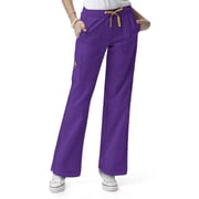 WonderWink® Four Stretch Elastic Waist Boot Cut Cargo Petite Scrub Pant, Electric Violet, XL