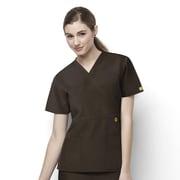 WonderWink® The Golf Lady's Fit Mock Wrap Scrub Top With 2 Pockets, Chocolate, XS