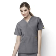 WonderWink® The Golf Lady's Fit Mock Wrap Scrub Top With 2 Pockets, Pewter, XS