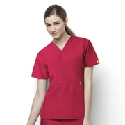 WonderWink® The Golf Lady's Fit Mock Wrap Scrub Top With 2 Pockets, Red, 2X