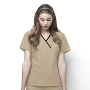 WonderWink® The Charlie Lady's Fit Y-Neck Mock Wrap Scrub Top With 5 Pockets, Khaki, 2X