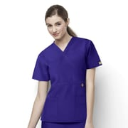 WonderWink® The Golf Lady's Fit Mock Wrap Scrub Top With 2 Pockets, Grape, Large