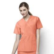 WonderWink® The Golf Lady's Fit Mock Wrap Scrub Top With 2 Pockets, Orange Sherbet, XS