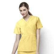 WonderWink® The Golf Lady's Fit Mock Wrap Scrub Top With 2 Pockets, Yellow, XS