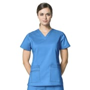WonderWink® Verity Lady's Fit Darted V-Neck Scrub Top With 3 Pockets, Malibu Blue, Large