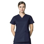 WonderWink® Verity Lady's Fit Darted V-Neck Scrub Top With 3 Pockets, Navy, XS
