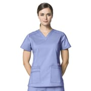 WonderWink® Verity Lady's Fit Darted V-Neck Scrub Top With 3 Pockets, Ceil Blue, 3X