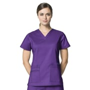 WonderWink® Verity Lady's Fit Darted V-Neck Scrub Top With 3 Pockets, Electric Violet, 3X