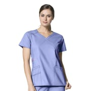 WonderWink® Charity Lady's Fit Y-Neck Mock Wrap Scrub Top With 3 Pockets, Ceil Blue, XS