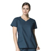 WonderWink® Charity Lady's Fit Y-Neck Mock Wrap Scrub Top With 3 Pockets, Caribbean Blue, XL