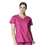 WonderWink® Charity Lady's Fit Y-Neck Mock Wrap Scrub Top With 3 Pockets, Hot Pink, 2X