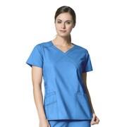 WonderWink® Charity Lady's Fit Y-Neck Mock Wrap Scrub Top With 3 Pockets, Malibu Blue, Medium