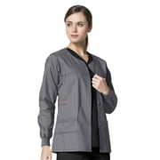 WonderWink® Constance Snap Front Scrub Jacket, Pewter, Large