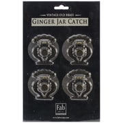 Fabscraps Old Brass Embellishment, Ginger Jar Catch, 4/Pack
