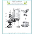 Chapel Road 5 3/4in. x 6 3/4in. Cling Mounted Rubber Stamp Set, Tea Collage