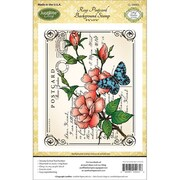"Justrite® Papercraft 4 1/2"" x 5 3/4"" Cling Background Stamp, Rose Postcard"