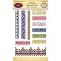 Justrite® Papercraft 4in. x 6in. Clear Border Stamps Set, Ribbons/Tape/Lace
